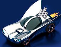 3d - 1960's Batmobile inspired Hot Wheels concept