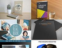 Free PSD Magazine, Book, Cover & Brochure Mockups