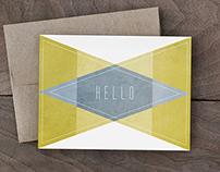 Simple Geometric Hello Card Set