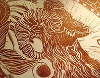 Making of lino cut goat