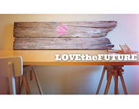 Lovethefuture . Believing. Acrilic in wood 34x117cm