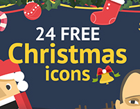 Christmas & New Year Free Set Colorful Ficons Icons 24+