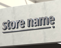 Free download 3D store name mockup