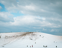 Winter and Snow at Tottori Sand Dunes