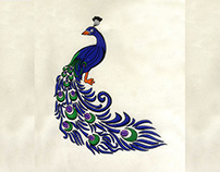 BOLD AND BLUE DETAILED PEACOCK EMBROIDERY DESIGN