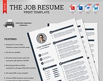 The Job Resume CV Print Template