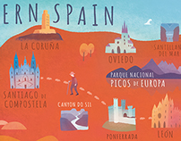 Illustrated map of northern Spain