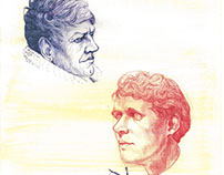 Portraits of Hugo Pratt and Jack London