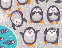 Cartoon patterns with funny penguins