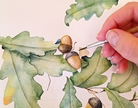 Watercolor oak illustration