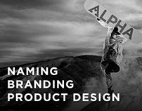 Alpha Snowboards- Naming, Logo & Snowboard Design