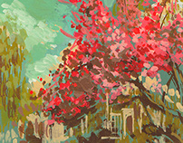 Gouache Landscape - Cherry Blossom