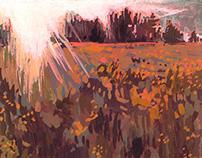 Gouache Landscape - Canola Field