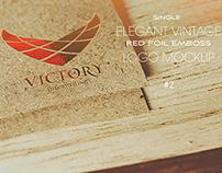 Elegant Vintage Red Foil Logo Mockup #2