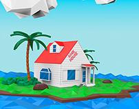 Kame House en Low poly