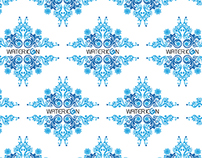 Water Icon Holiday Wrapping Paper and Greeting Card