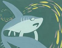 Gouache Shark Paintings