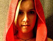 Crop Top Hoodie Red Sparkle