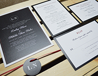 Black, White, Red Simple Wedding Invitation Suite