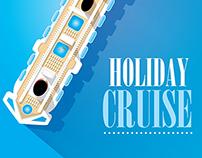 Cruise Ship Vector Illustration.