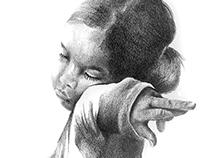 Mädchen in Bleistift Zeichnung