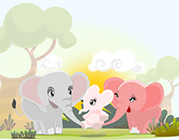 Our Happy elephants family