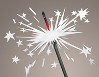 FIREWORKS - Paper Craft Illustration