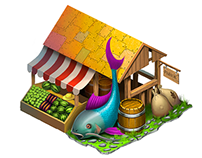 Art for game. Market building