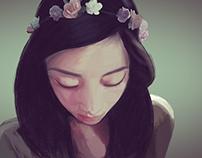 Ilustración - Flores y ella