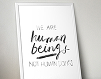Brush-lettered quote | we are human beings