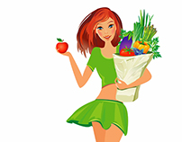 Healthy food.Girl with bag full of healthy food.