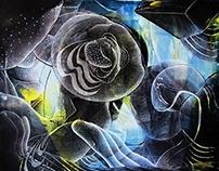 """Obra del 2015, """"Flores acuáticas"""" arte abstracto"""