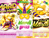 Mardi Gras Party Flyer Bundle, PSD Template