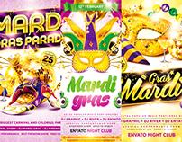 Mardi Gras Party Flyer Bundle, PSD Template