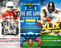 American Football Game Flyer Bundle, PSD Template