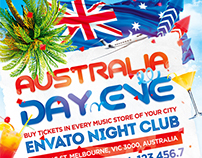Australia Day Party Flyer, PSD Template