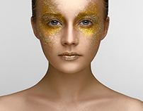 Girl with gold makeup