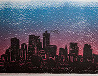 Skyline Woodblock Print
