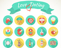 Round Love and Dating Flat Icons