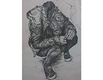 'Fragile Things - Gas Mask Series' - Pen Drawings -2011