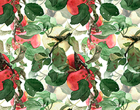 Watercolor apples. Seamless pattern.