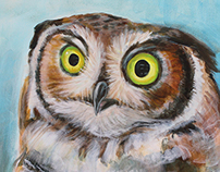 Painting of Great-Horned Owl