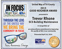 United Way Certificate Award