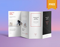 Free Brilliant 4 Fold Brochure Mockup