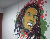 Intervención mural, Bob Marley - Ave Fenix. 2015.