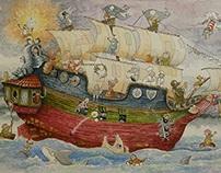 pirate ship in watercolor