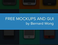 Free Iphone and Samsung Flat Mockup + Music Player GUI