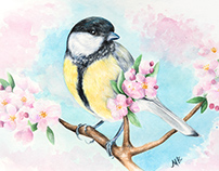 Watercolor painting of a Great titbird with cherry