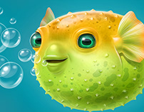 puffer fish, character for advertising