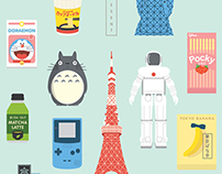 Japan Icons Illustration : PRESENT